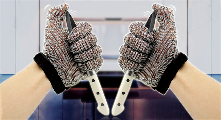5201-Five Finger Wrist Ring Mesh Glove With Hook Strap