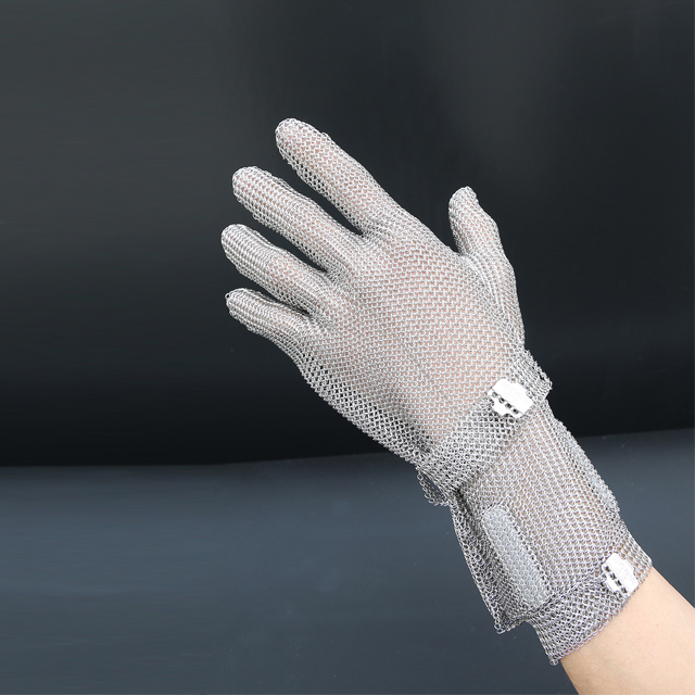 1201-Five Finger Wrist Ring Mesh Glove With Extended Hook Cuff