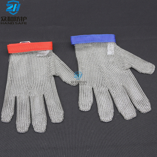 Five Finger cut resistant Stainless Steel Gloves with textile strap