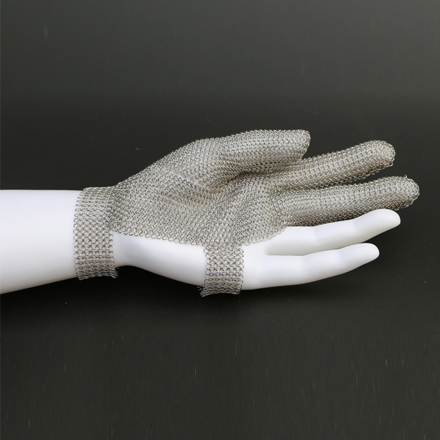 3201-Three Finger Wrist Ring Mesh Glove With Hook Strap