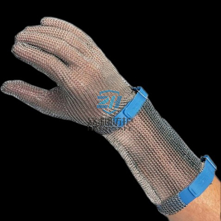 1301 Full Protection Ring Mesh Gloves with Long Sleeve Silicone Rubber Strap