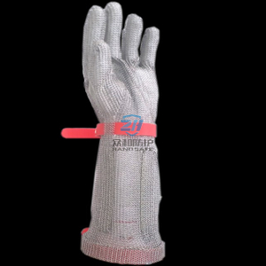 Stainless steel metal mesh gloves with extended cuff, EVA strap, XXS, XS, S, M, L, XL six size